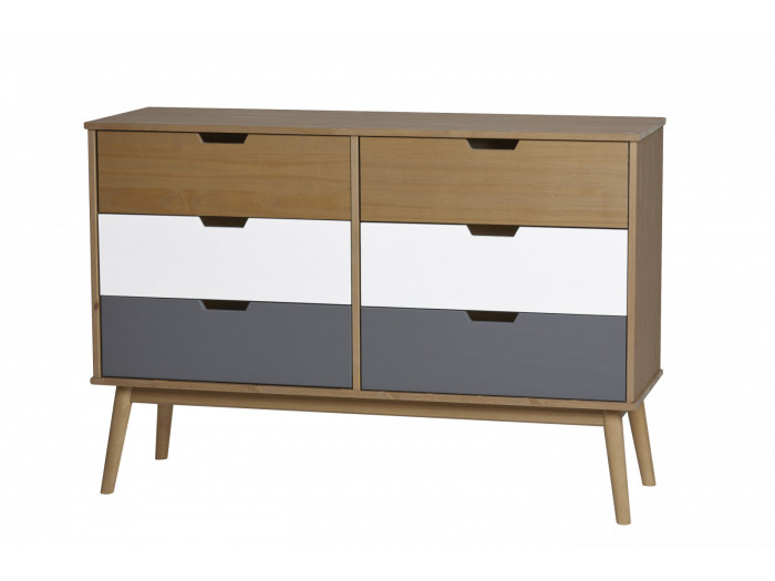 Commode scandinave 6 tiroirs ANAEL Bois massif