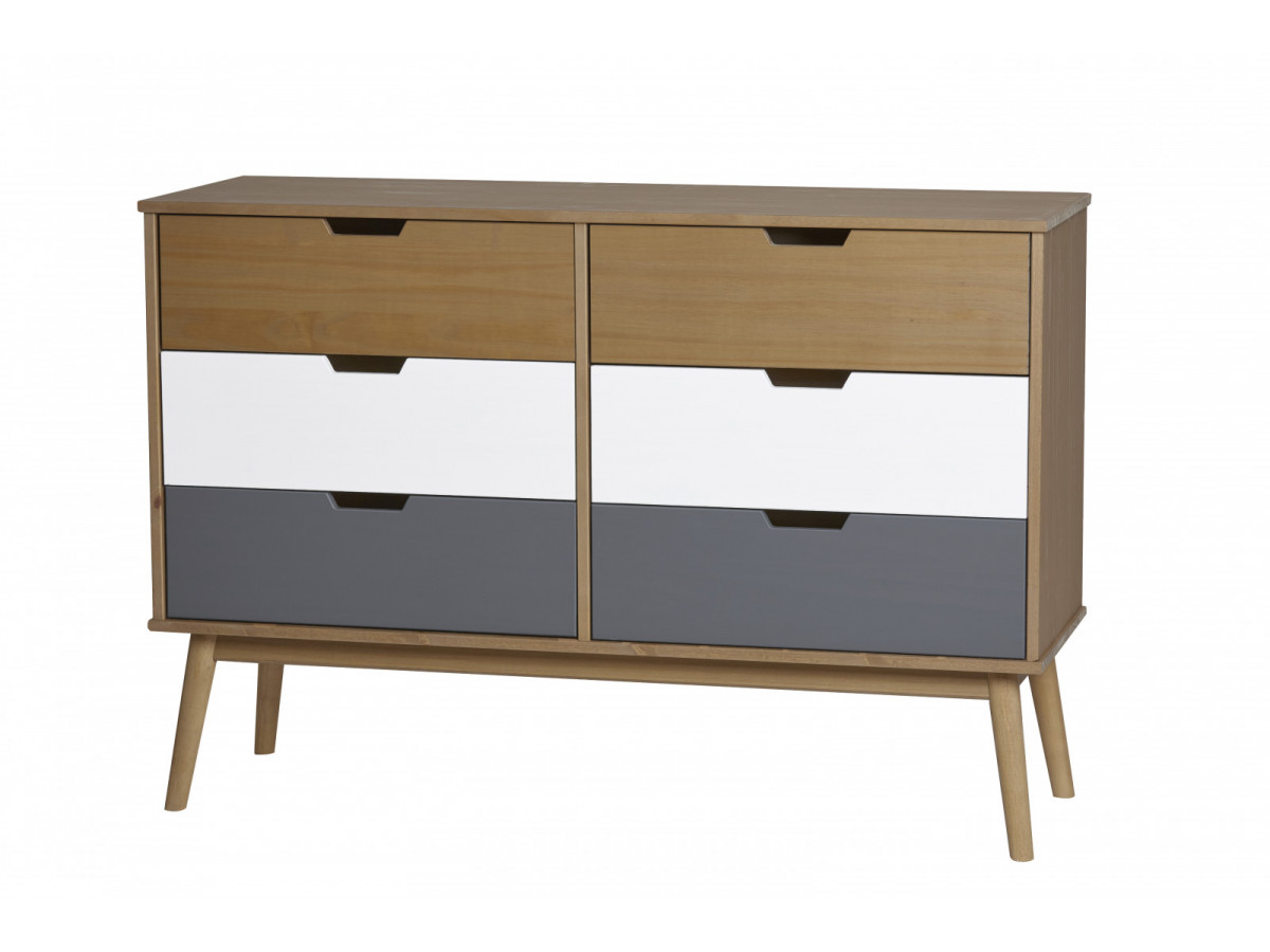 commode scandinave 6 tiroirs anael bois massif. Black Bedroom Furniture Sets. Home Design Ideas