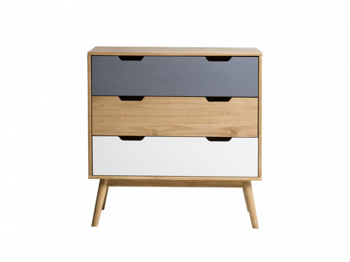 commode scandinave 3 tiroirs anael bois massif. Black Bedroom Furniture Sets. Home Design Ideas