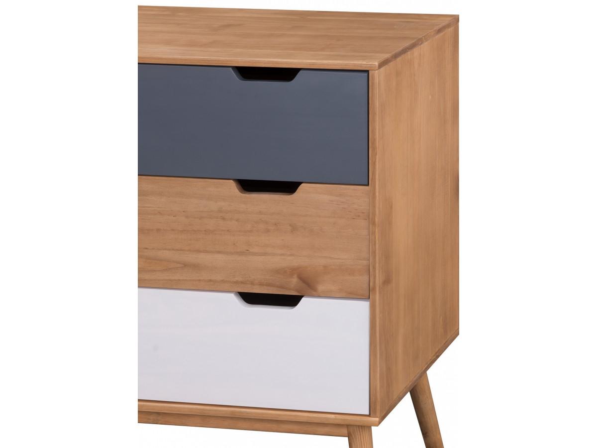 commode scandinave 3 tiroirs anael bois massif. Black Bedroom Furniture Sets. Home Design Ideas