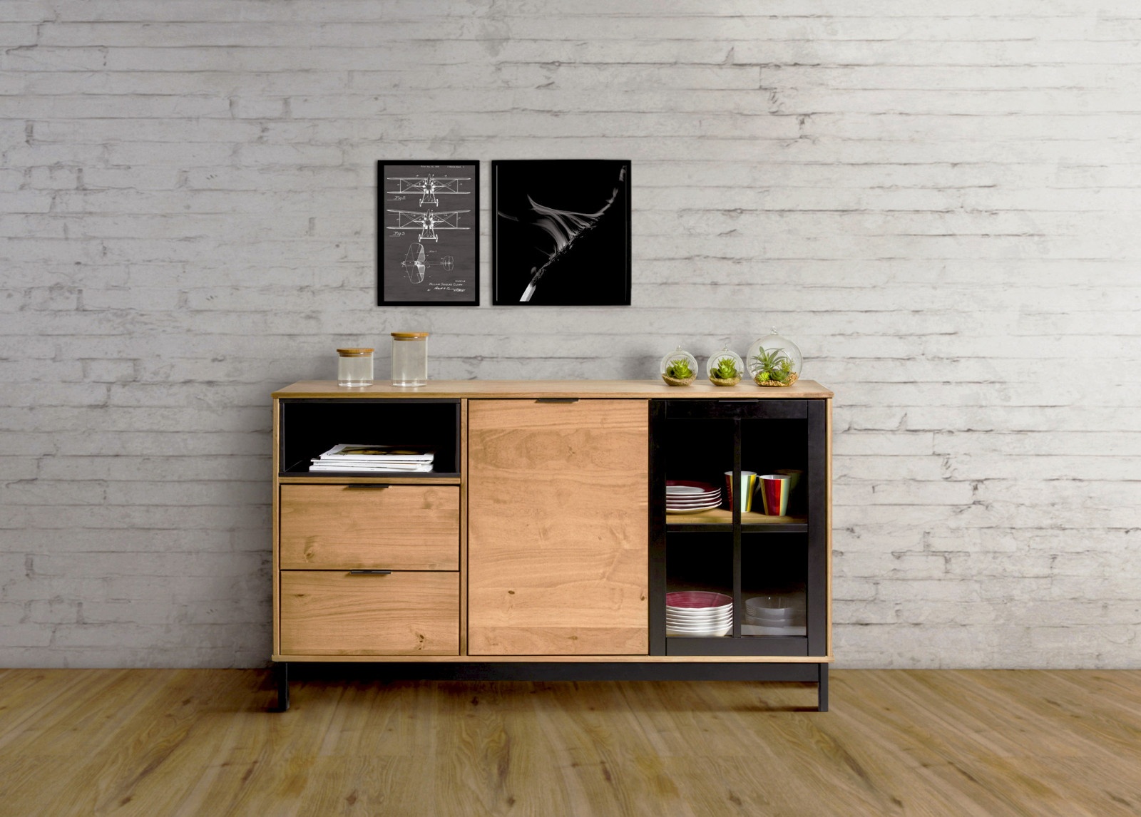 buffet style atelier bronx bois massif et noir. Black Bedroom Furniture Sets. Home Design Ideas