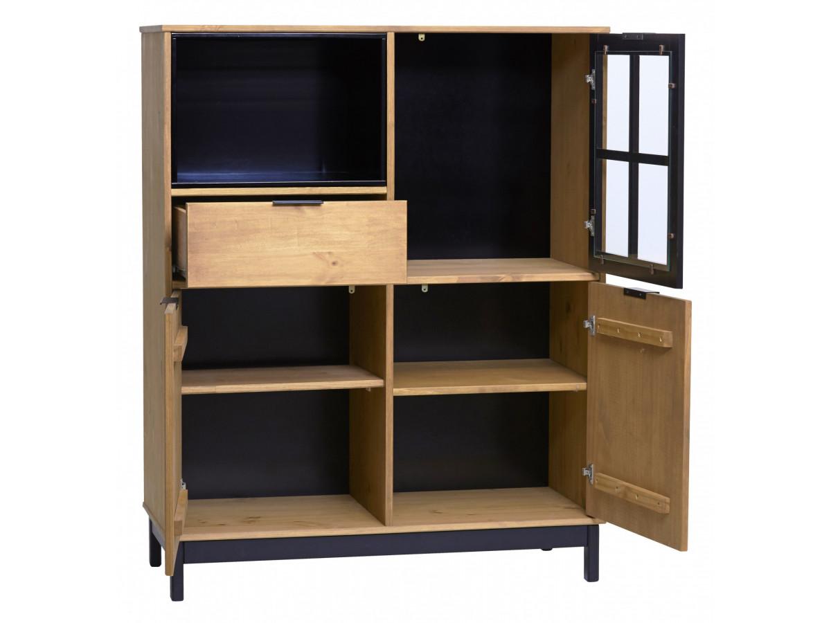 buffet haut style atelier bronx bois massif et noir. Black Bedroom Furniture Sets. Home Design Ideas