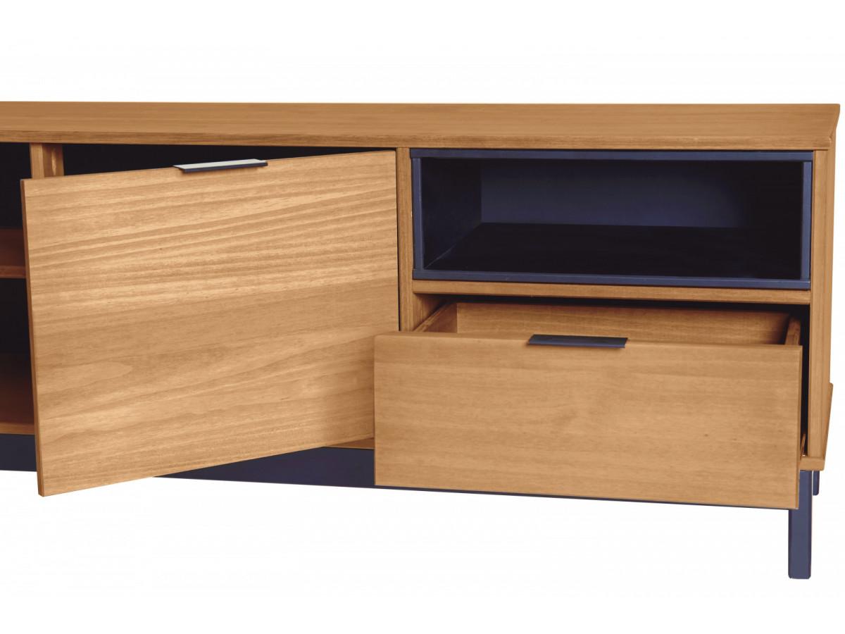 meuble tv style atelier bronx bois massif et noir. Black Bedroom Furniture Sets. Home Design Ideas