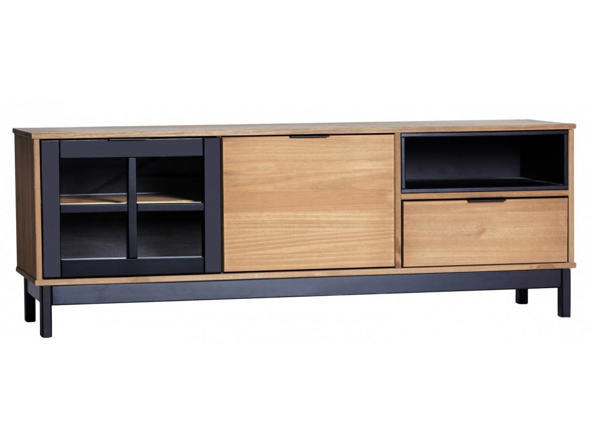 Meuble tv style atelier bronx bois massif et noir - Meuble bois et noir ...