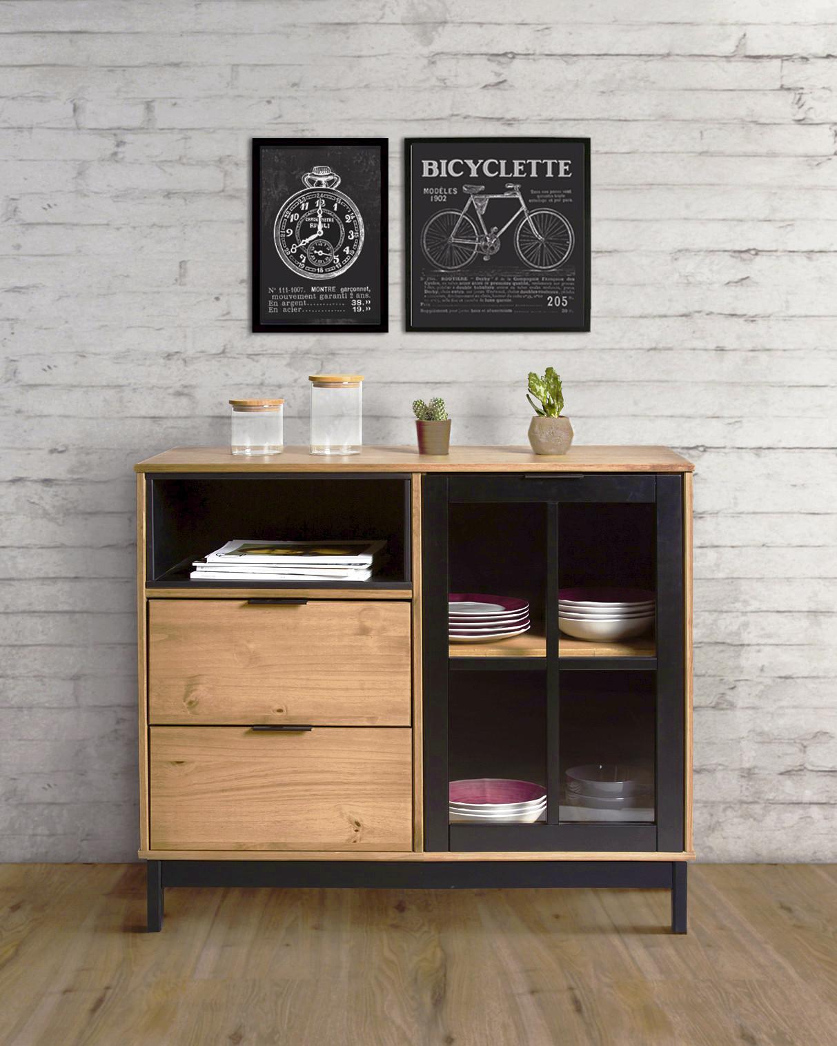 Rangement style atelier BRONX Bois massif et noir