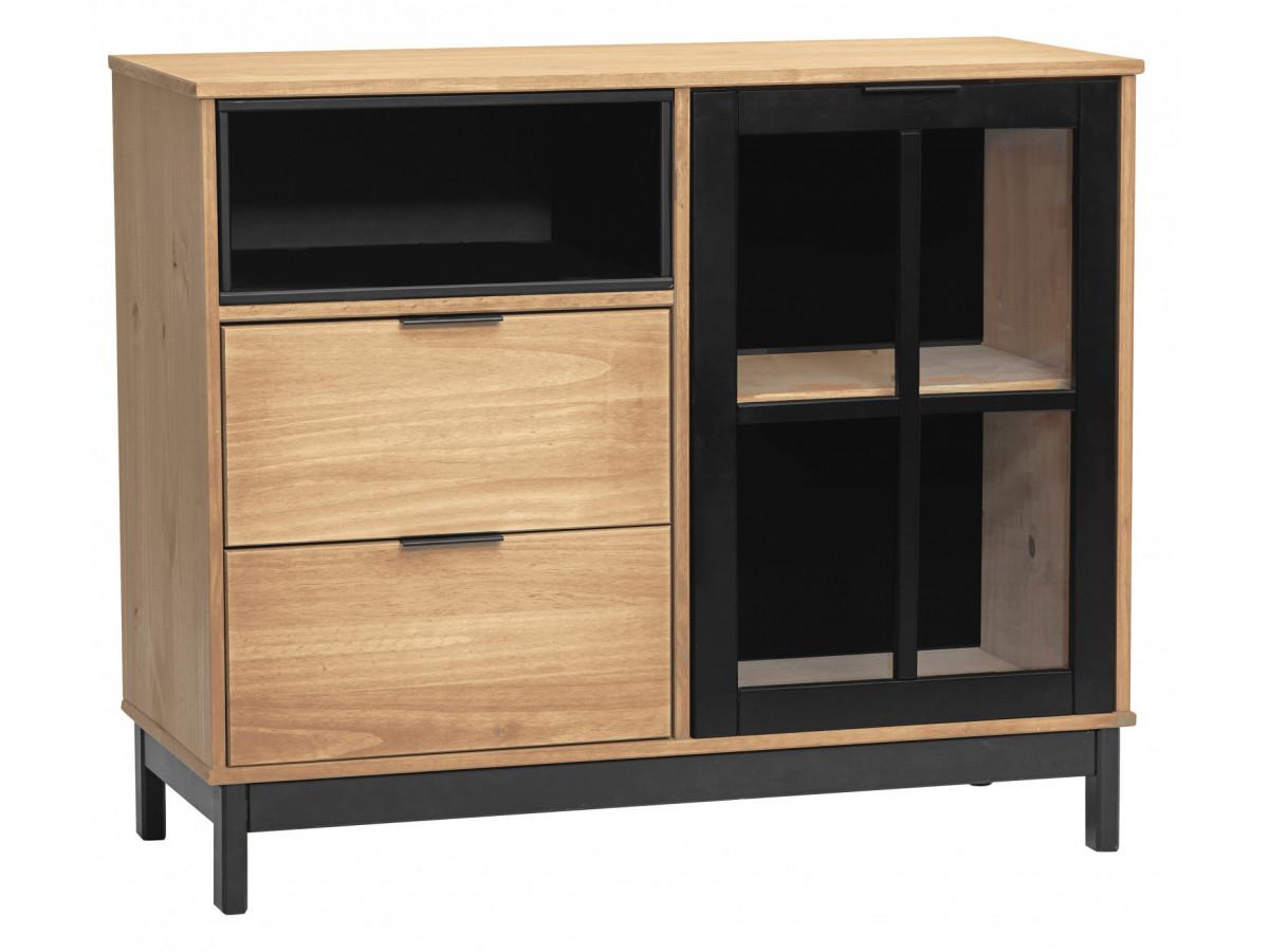 rangement style atelier bronx bois massif et noir bobochic. Black Bedroom Furniture Sets. Home Design Ideas