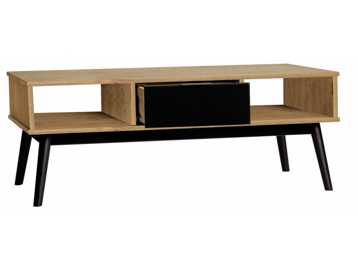 Coffee Table LUCIA Black and polished wood