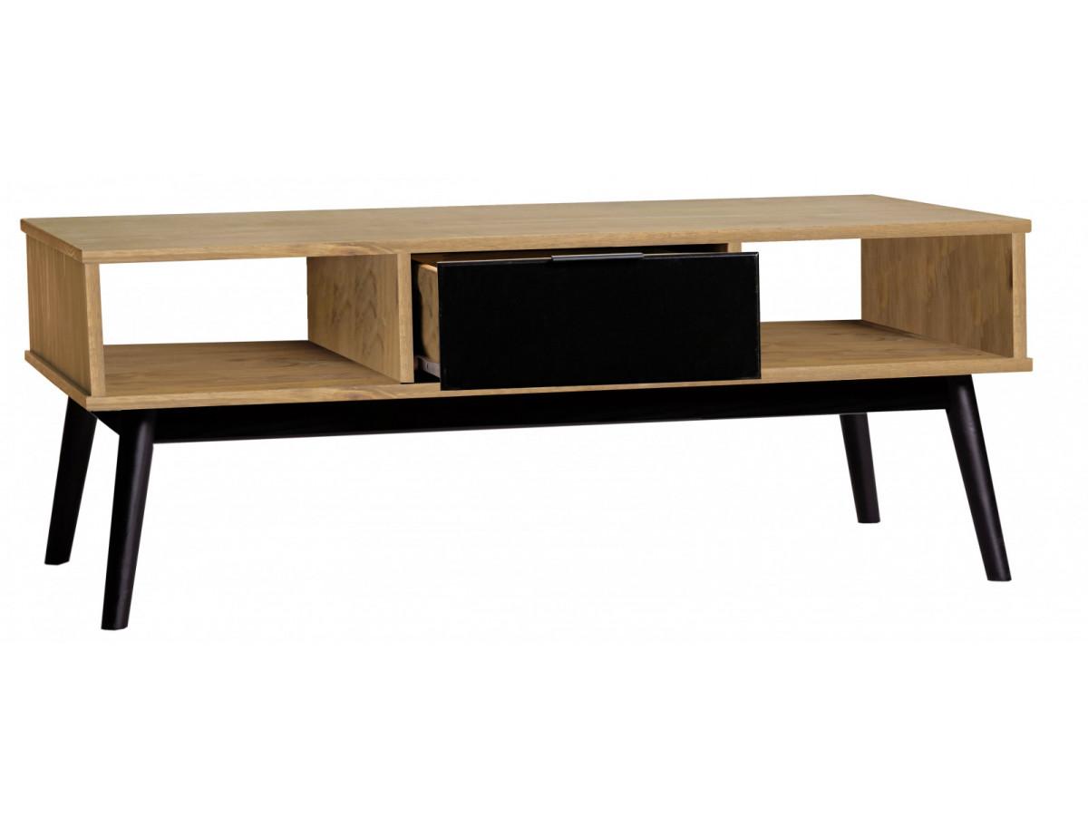 table basse lucia noir et bois cir. Black Bedroom Furniture Sets. Home Design Ideas