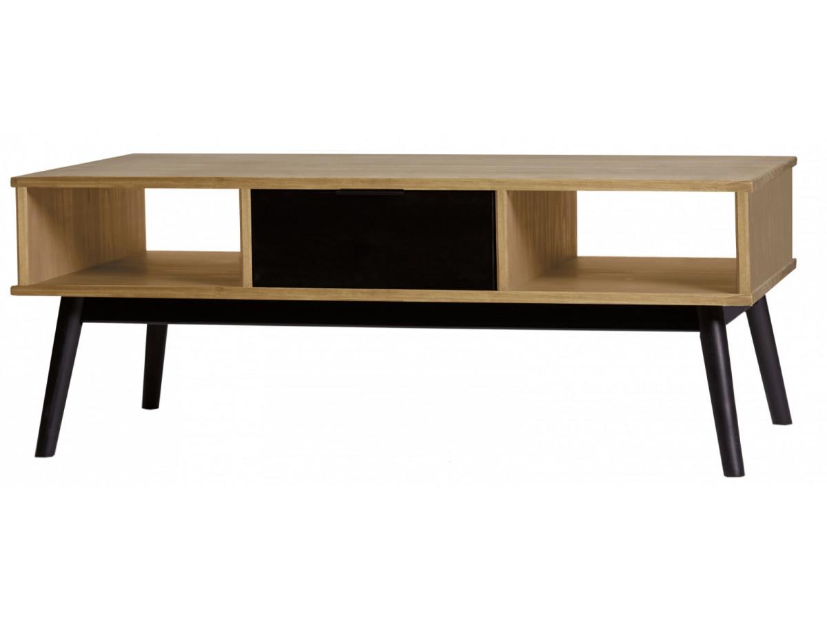 Table basse lucia noir et bois cir for Table noir et bois