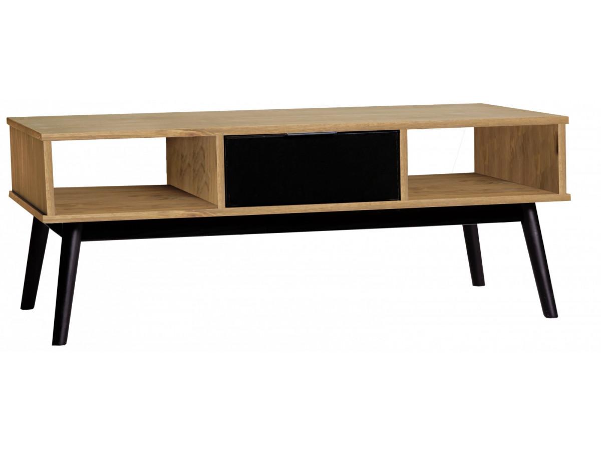 Table basse lucia noir et bois cir for Table basse bois et noir