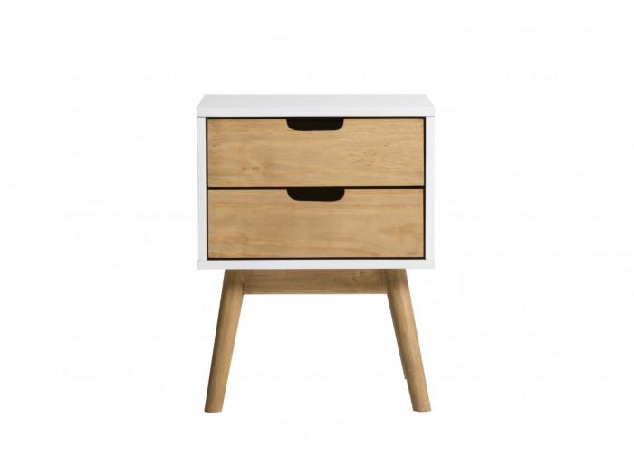 Bedside scandinavian 2 drawer MAELA solid Wood