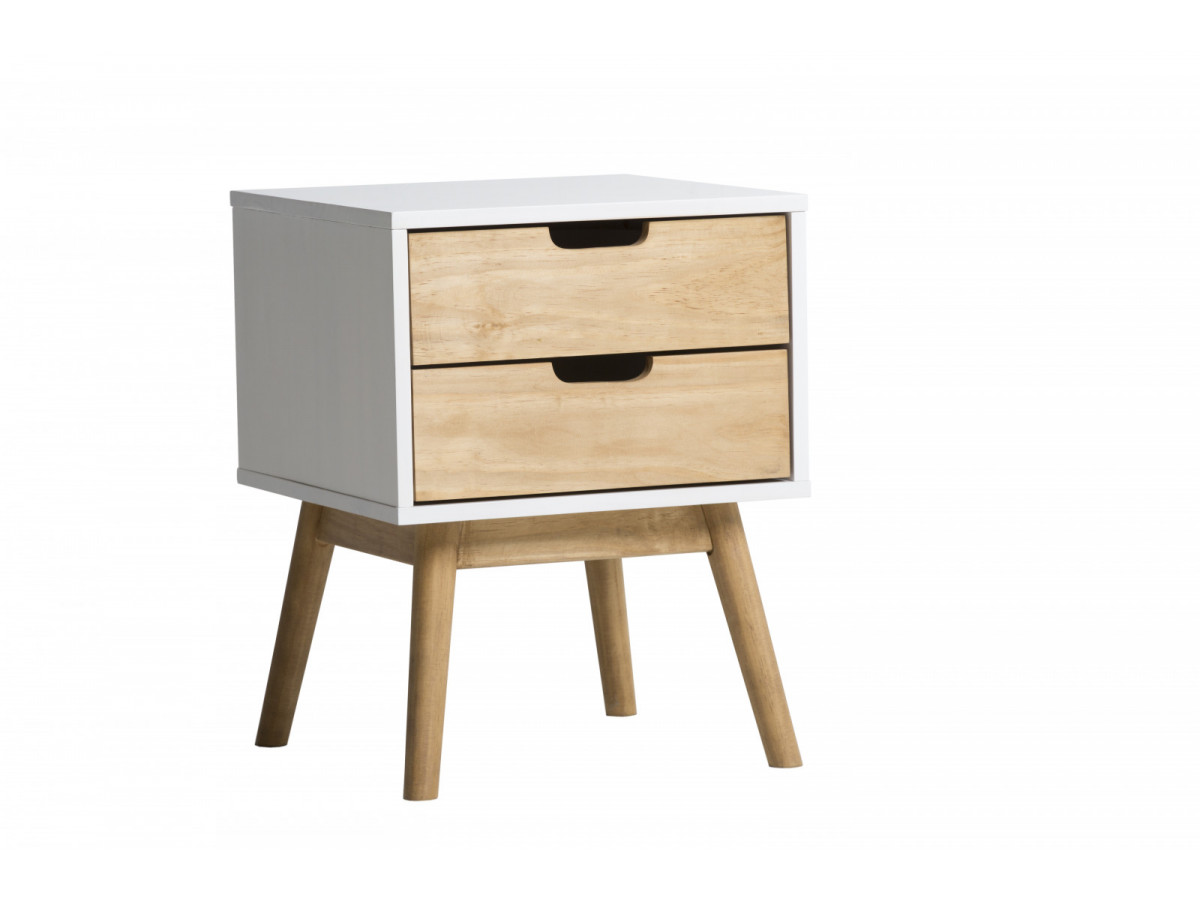 chevet scandinave 2 tiroirs maela bois massif. Black Bedroom Furniture Sets. Home Design Ideas