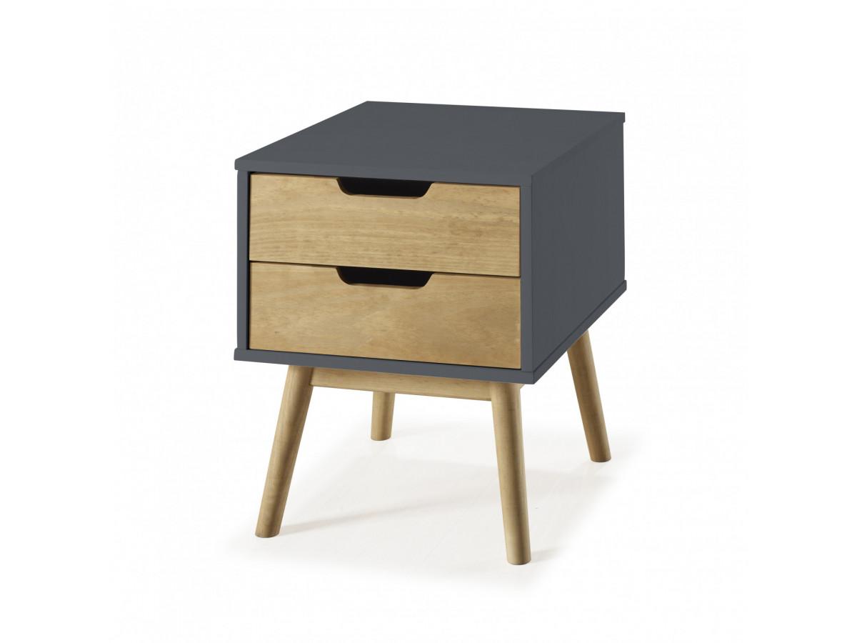 chevet scandinave 2 tiroirs maela bois massif. Black Bedroom Furniture Sets. Home Design Ideas