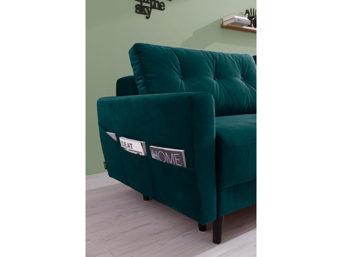 canap droit convertible coffre velours scandi bobochic. Black Bedroom Furniture Sets. Home Design Ideas