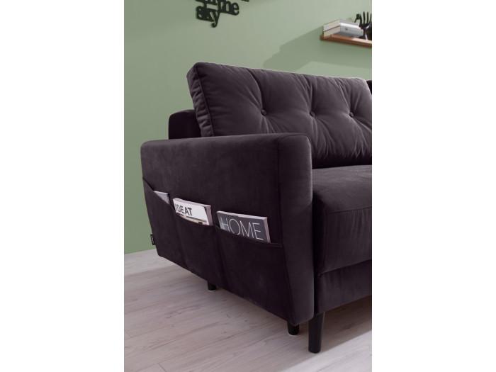 Sofa Scandi 3 miejsca aksamit z miękkim dachem