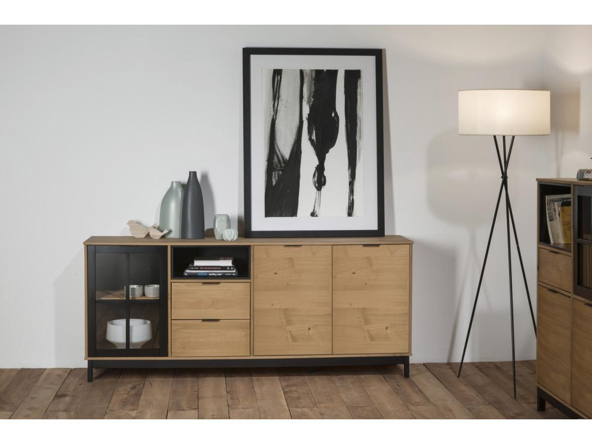 buffet 3 portes bronx bois massif et noir. Black Bedroom Furniture Sets. Home Design Ideas