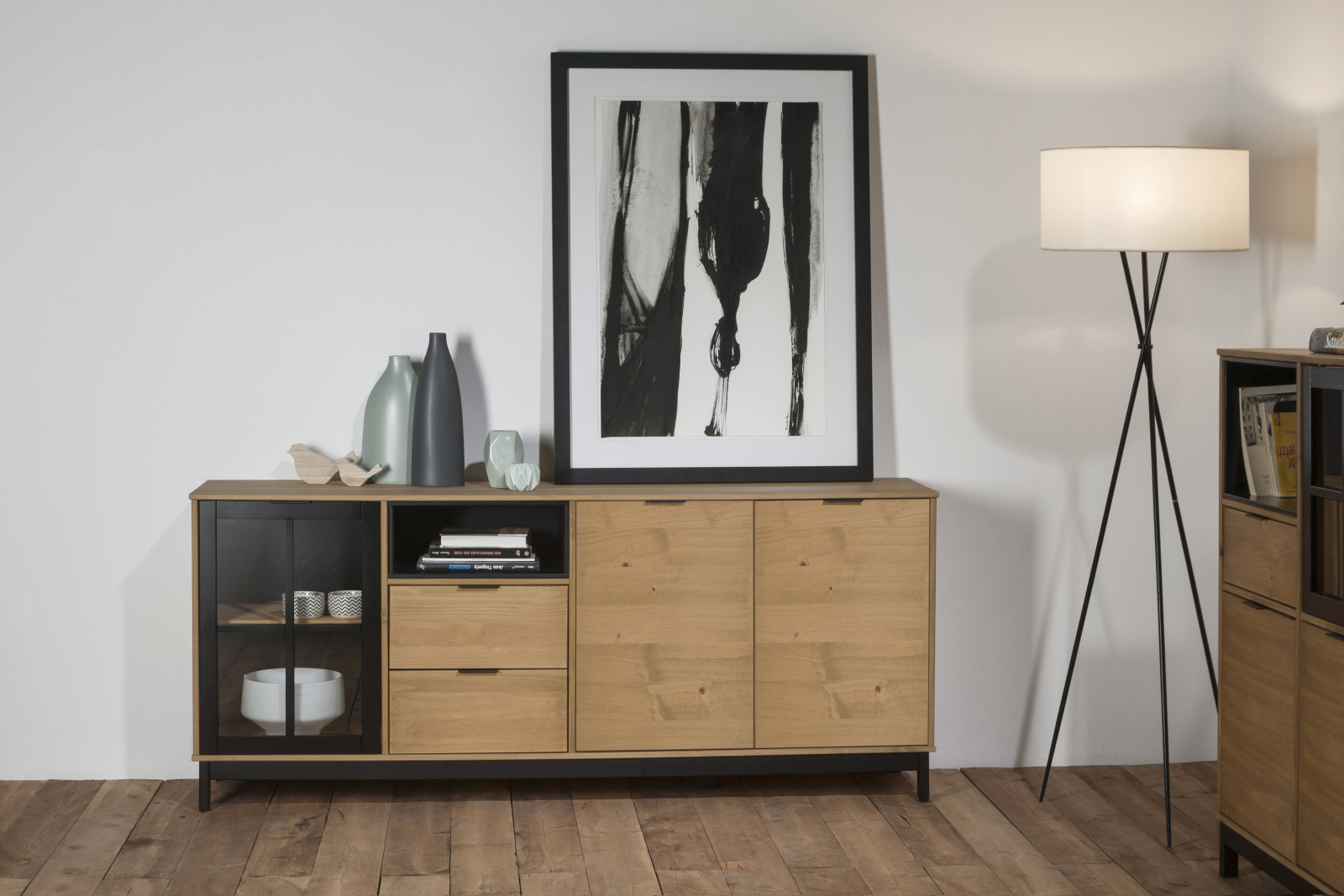 buffet 3 portes bronx bois massif et noir. Black Bedroom Furniture Sets. Home Design Ideas