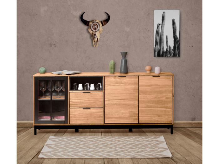 Buffet style atelier BRONX Bois massif et noir