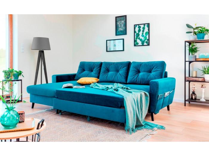 Corner sofa convertible SCANDI VELVET