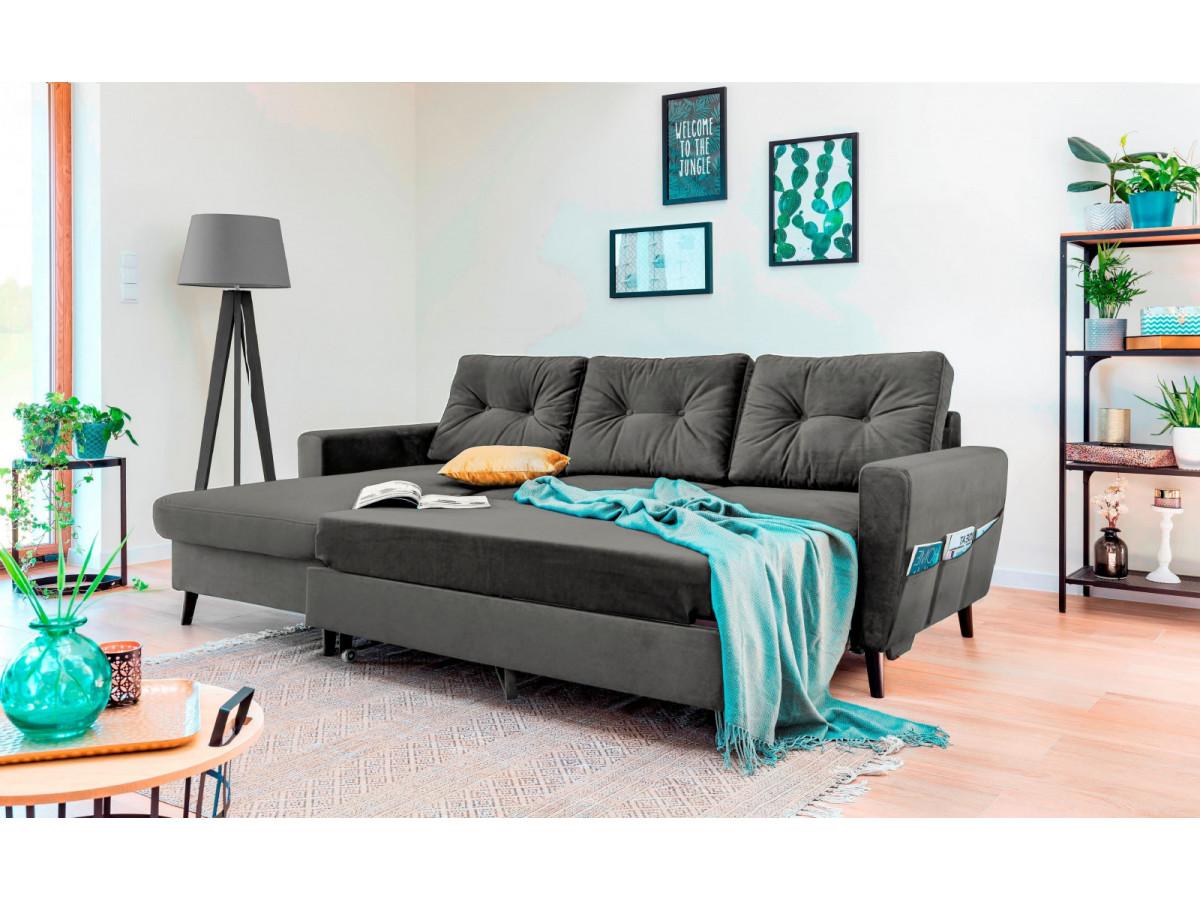 canap d 39 angle convertible coffre velours scandi bobochic. Black Bedroom Furniture Sets. Home Design Ideas