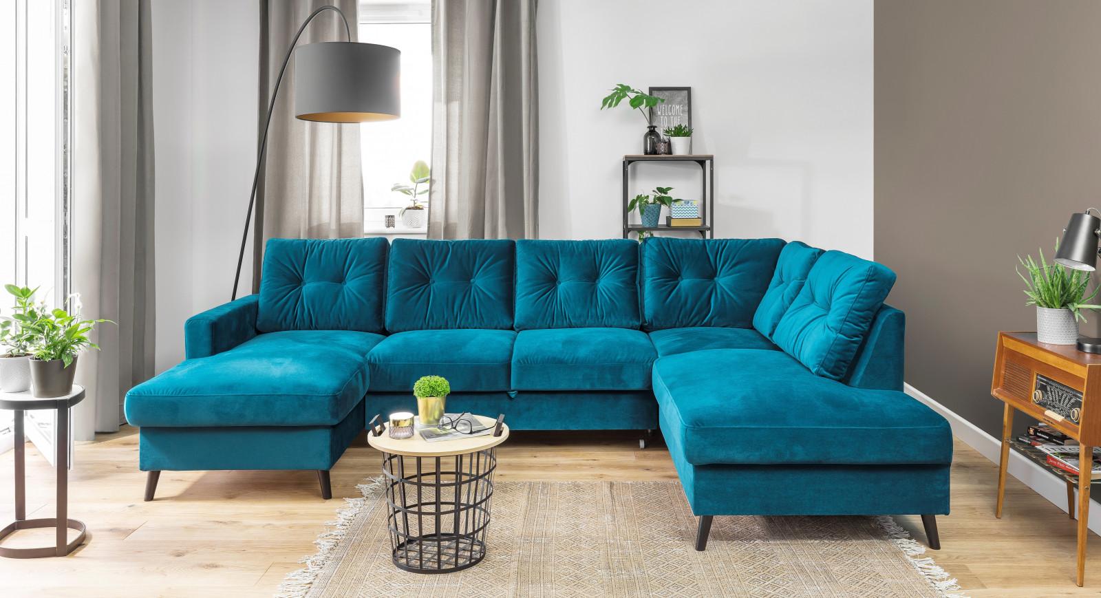 canap panoramique convertible coffre velours xxl scandi. Black Bedroom Furniture Sets. Home Design Ideas