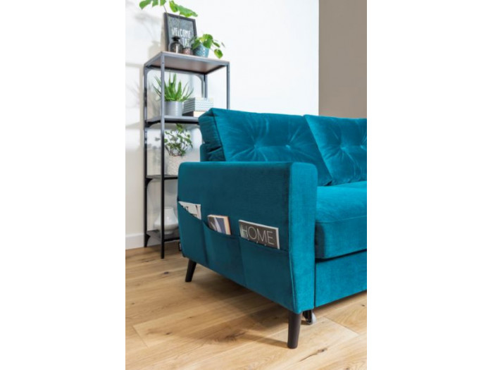 Sofa panoramic convertible trunk velvet XXL SCANDI