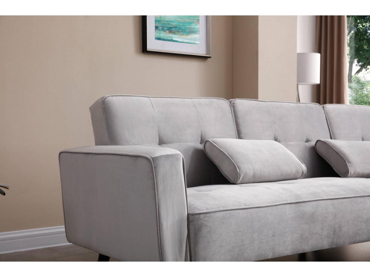 canap d 39 angle r versible convertible velours lisea bobochic. Black Bedroom Furniture Sets. Home Design Ideas