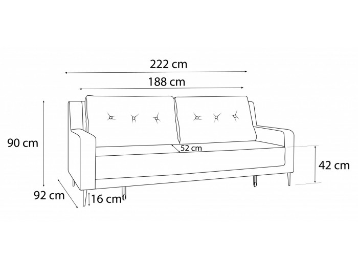 Sofa right convertible BERGEN