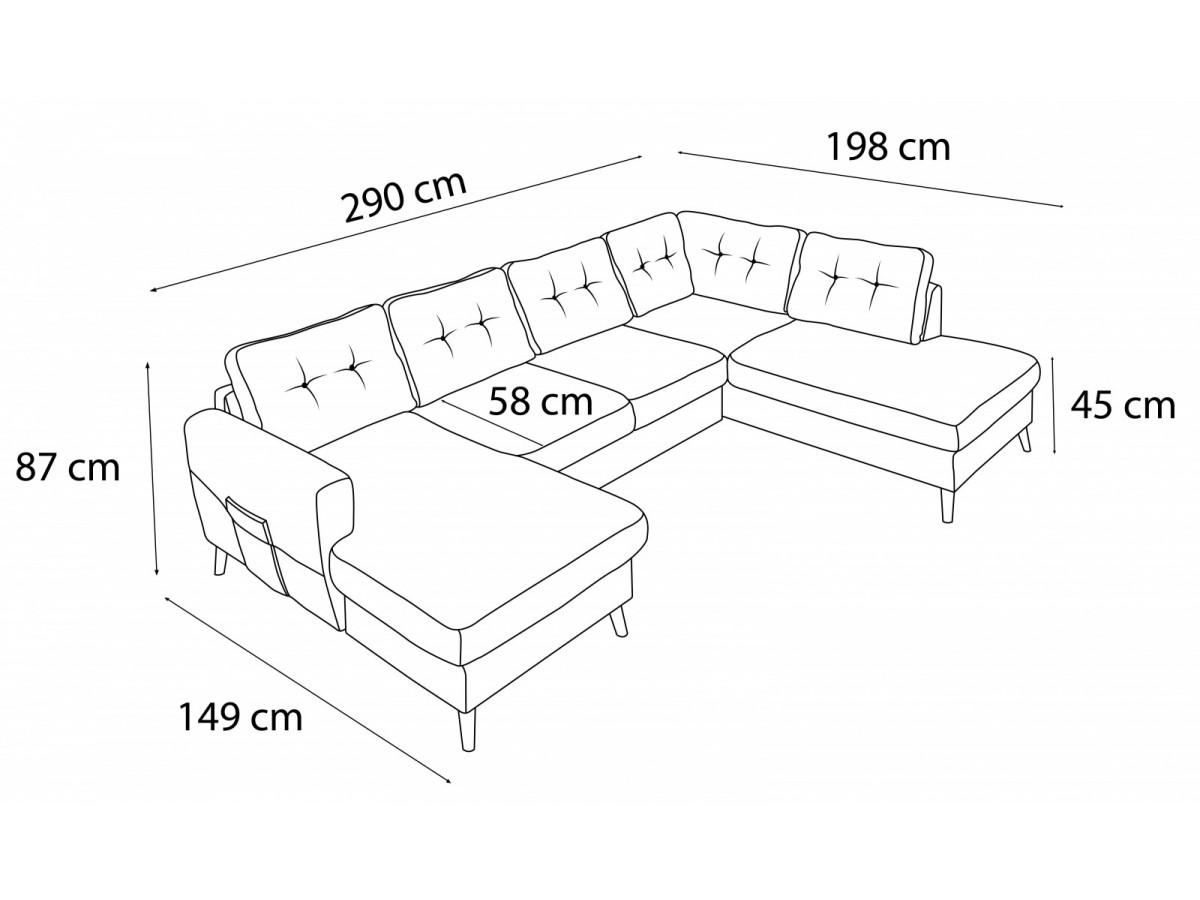 sofa panoramic convertible xxl with storage scandi bobochic. Black Bedroom Furniture Sets. Home Design Ideas