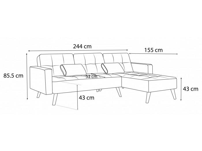 Sofa narożna cofania odwracalne aksamit LISEA