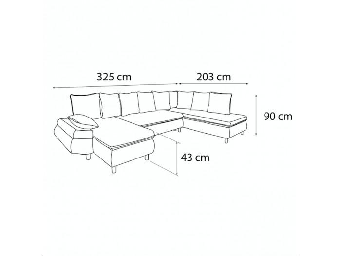 Canapé panoramique convertible coffre XXL NESTOR