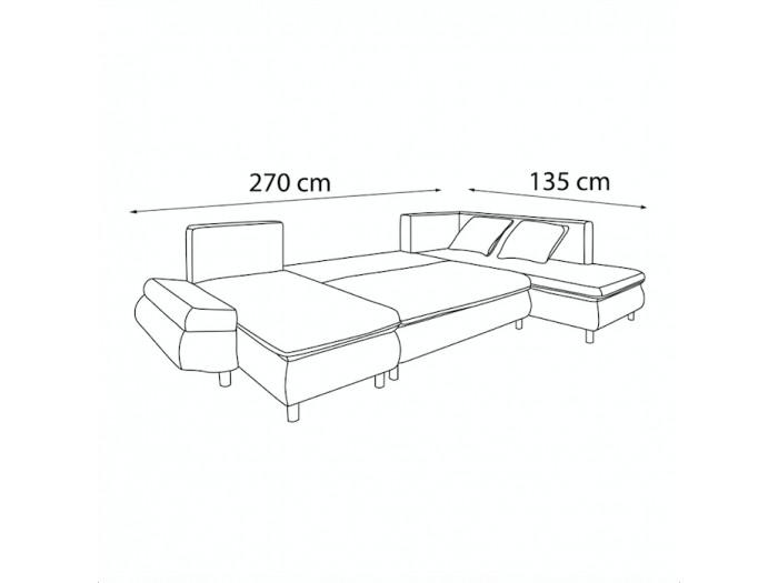 Sofa panoramic convertible with storage XXL NESTOR