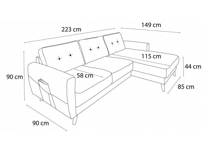 Corner sofa Scandi fixed Velvet