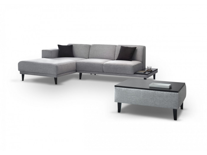 Corner sofa with pouffe LEO