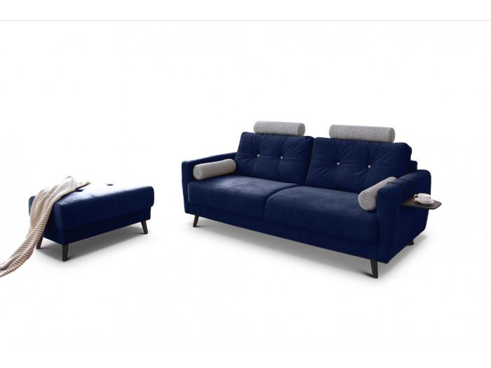 Canapé droit fixe édition limitée velours avec pouf SCANDI + 2 têtières, set de 2 coussins + 1 tablette offerts