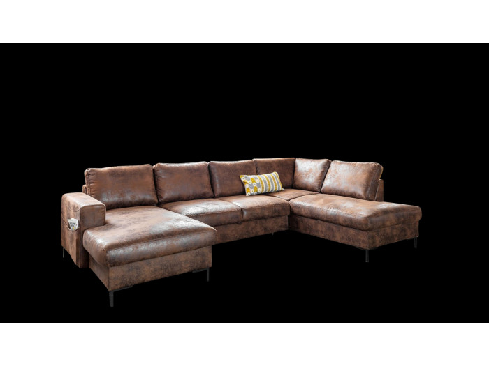 Corner Sofa vintage panoramic convertible with storage LILLY