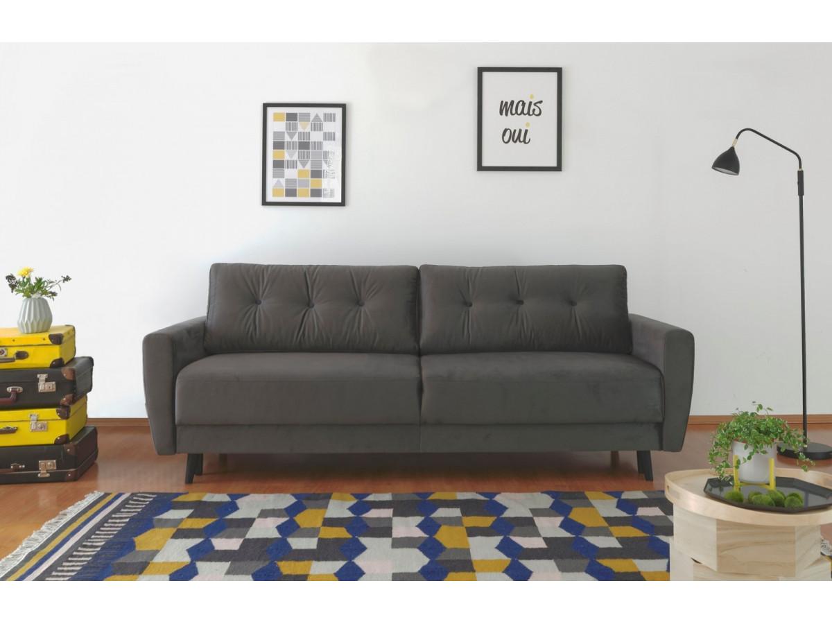 canap droit convertible coffre velours scandi edition sp ciale bobochic. Black Bedroom Furniture Sets. Home Design Ideas